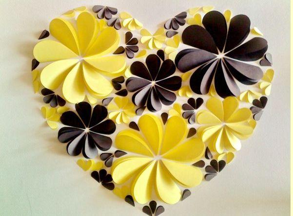 Оригинальные 3D панно с аппликацией сердца из бумаги (1)