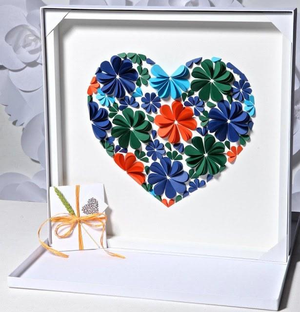 Оригинальные 3D панно с аппликацией сердца из бумаги (5)
