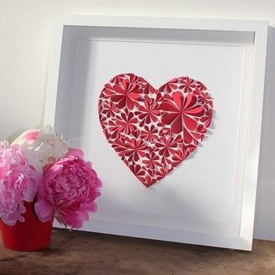 Оригинальные 3D панно с аппликацией сердца из бумаги (10)