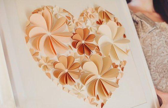 Оригинальные 3D панно с аппликацией сердца из бумаги (2)