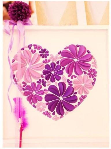 Оригинальные 3D панно с аппликацией сердца из бумаги (3)