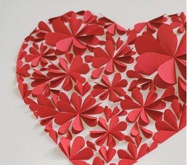 Оригинальные 3D панно с аппликацией сердца из бумаги (4)
