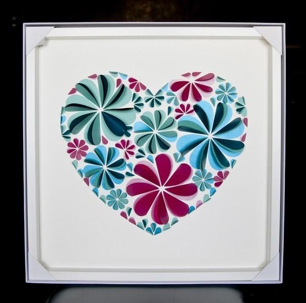 Оригинальные 3D панно с аппликацией сердца из бумаги (6)
