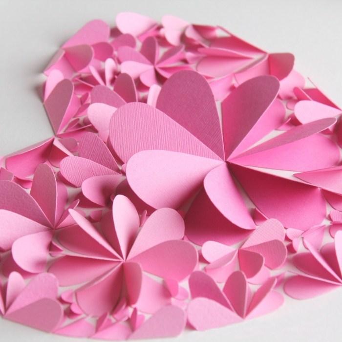 Оригинальные 3D панно с аппликацией сердца из бумаги (8)